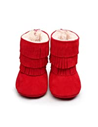 Cute Kids Baby Girl Winter Snow Boots Toddler Tassels Soft Sole Crib Shoes 0-18M