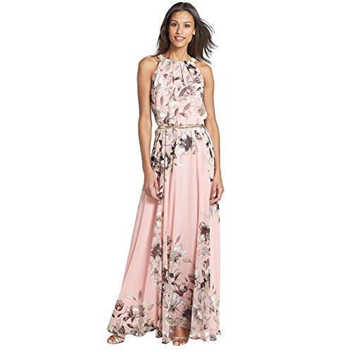 Chouette Femme Rose Longue Robe Bohème sans Manches Floral Imprimé avec Ceinture Cocktail Plage Soirée Bal Party Vacances Eté