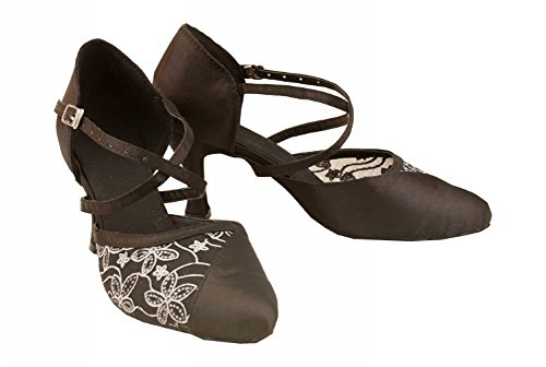 Tda Femmes Bout Pointu Satin Latin Moderne Samba Rumba Parti Chaussures De Danse Noir