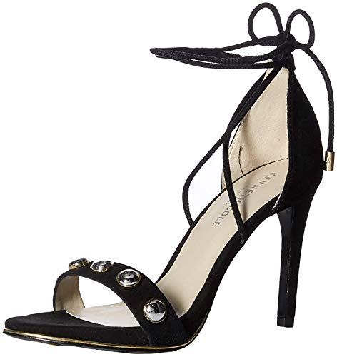Cole Sandals Kenneth Suede (Kenneth Cole New York Women's Berry Stud Ankle-Laceup Stilleto Dress Sandal Heeled, Black, 8 M US)