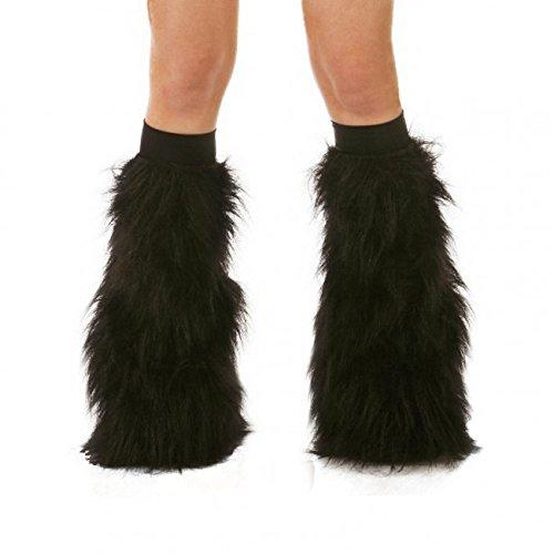 [TrYptiX Women's Fluffy Leg Warmers Black One Size w/ Black Kneebands] (Furry Rave Boots)