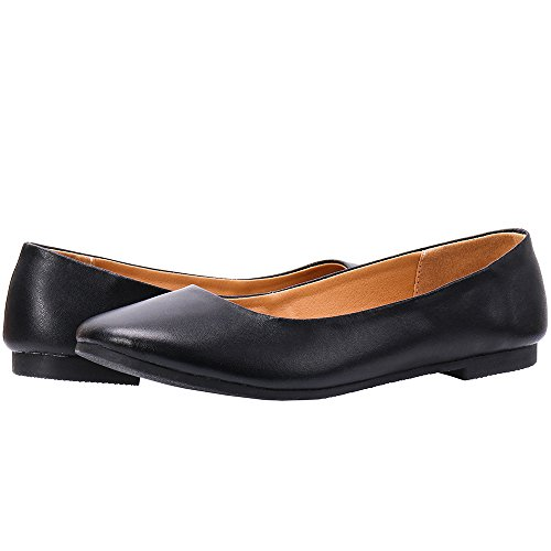 ALEADER Womens Leather Classic Comfort Ballerina Walking Flats Shoes-Size Updated Black jDWW55mU
