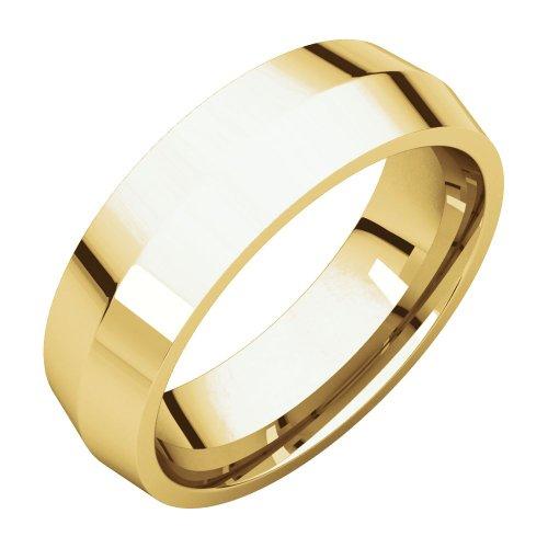Bonyak Jewelry 14k Yellow Gold 6 mm Knife Edge Comfort-Fit Band - Size 9 ()