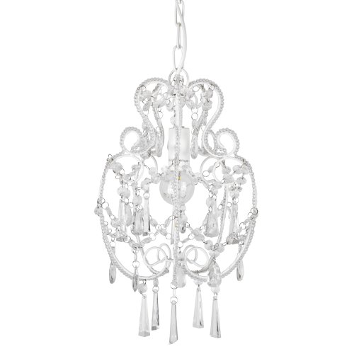 Modern Cream White Shabby Chic Chandelier Pendant Light Fitting With  Beautiful Decorative Clear Beads u0026 Jewel Droplets - Complete