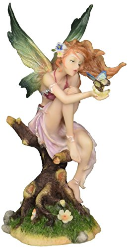 Design Toscano Kiss of the Butterfly Fairy Figurine Statue, 8 Inch, Polyresin, Full - Butterfly Fairy Figurine