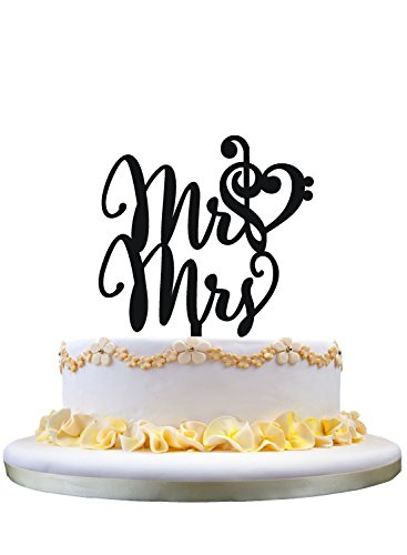 Mr and Mrs Wedding Cake Topper with Music Note Heart