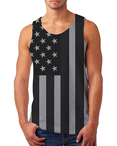 (Uideaone Men Independence Day America Flag Tank Top Casual Athletic Sleeveless Summer Top Tee Gym Musle Rave Tanks Small)