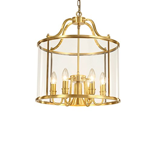 JinYuZe Retro Brass Gold Pendant Light Luxury Chandelier Lantern with Clear Glass Lampshade, 6 Candle Lights and 1 Edison Light