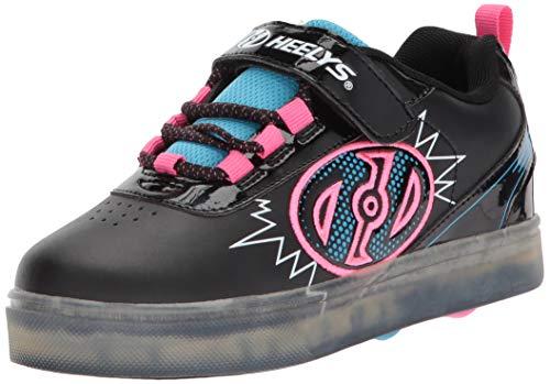 Heelys Girls' Pow X2 Tennis Shoe, Black Blue/Neon Pink, 12c M US Little Kid (X2 Skate Shoes)