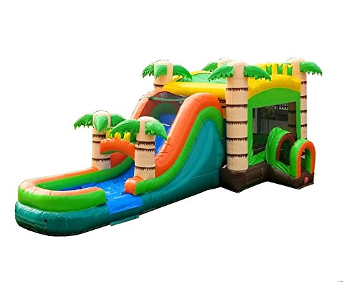 - TentandTable Tropical Wet Dry Mega Bounce House Tunnel Front, Slide Climbing Wall Combo, Commercial Grade Inflatable, Blower Included