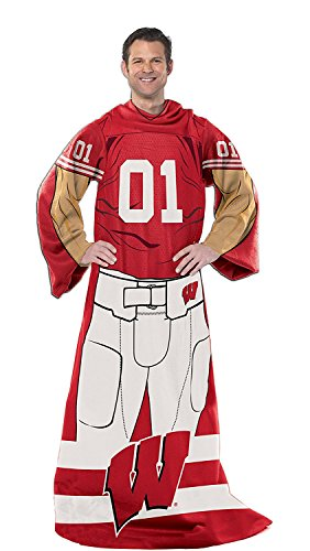 Northwest Wisconsin Badgers Player Comfy Throw with Sleeves