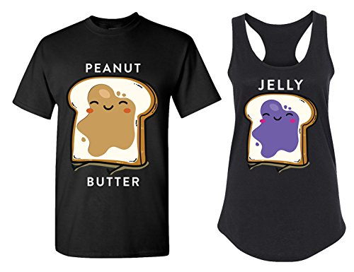Peanut Butter and Jelly Matching Couple T Shirts - His and Hers Racerback Tank Tops -