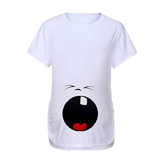 Mitlfuny Ropa premamá Tops Mujeres Embarazadas Maternidad Dibujos Animados Bebe Carta Estampado Camisa Lactancia Camiseta Verano Enfermería Embarazada Manga ...
