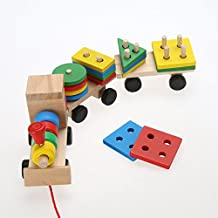 Kid Baby Wooden Solid Stacking Train Toddler Block Toy, Fun Vehicle Block Board Game Toy, Wooden Educational Toy for Children