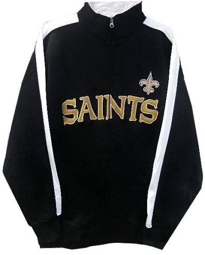 New Orleans Saints NFL End Zone Full Zip Mens Track Jacket Big & Tall Sizes (LT)