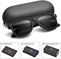Mens Wayfarer Sunglasses Polarized Womens UV 400 Protection 54MM,by LUENX with Case