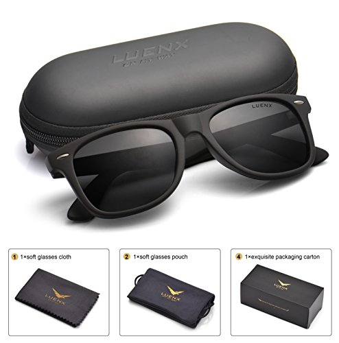 LUENX Mens Wayfarer Polarized Sunglasses for Womens UV 400 Protection Black Lens Matte Black Frame 54MM,by with Case