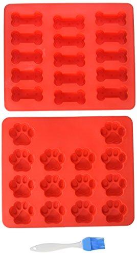 Generic Silicone Baking Molds Food Grade Large Mats Trays Puppy Pets Dog Paws and Bones Shape Bake Dog Treats Kids 2 pcs