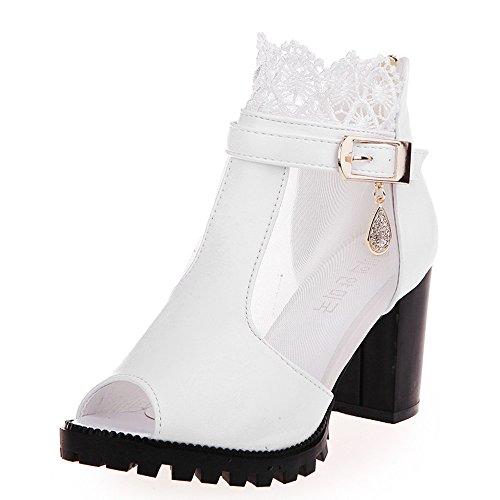En Yesmile Rough Hauts À Dentelle Boucle Chaussures Bouche Zipper Talons Femmes Sandales Des Blanc Poisson FctHqRxBOw