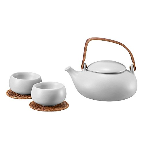 ZENS Ceramic Tea Set Smooth Matte Texture, 800ml Teapot with Natural Bentwood Handle, Two Double Wall Teacups & 2 Rattan Coasters, Stainless Steel Strainer for Loose Leaf Tea (Porcelain Steel Teapot)