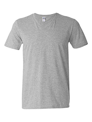 Gildan Grey Uomo Us T sport neck Soft Style Shirt V Medium FqrF4f