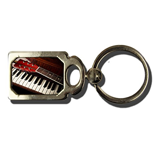 Guitar Neck On Old Piano Keys One Side Framed Metal Key Chain from Style in Print