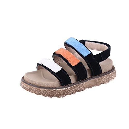 Nere Slingback Scarpe Flatform Sandali Womens Beach Linnuo Piattaforma Summer Romana Sole Velcro Thick Casual qgOxHZA