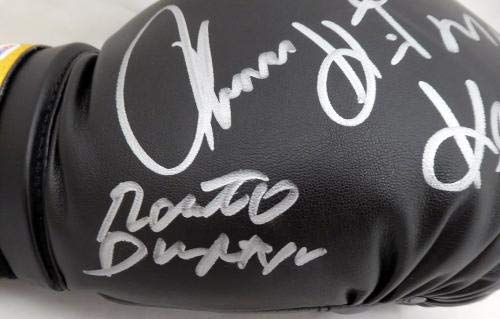 """Boxing Greats Autographed Black Everlast Boxing Glove With 3 Signatures Including Sugar Ray Leonard, Thomas""""Hitman"""" Hearns & Roberto Duran #7A91039 PSA/DNA Certified"""