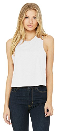 Bella Canvas Women's Racerback Cropped Tank, Solid White Blend, Small