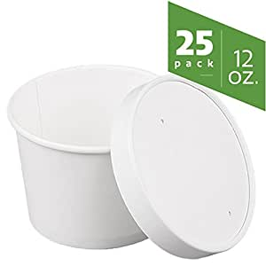 Double-Wall Poly White Paper Containers with Vented lids [25 pack] (12 oz)