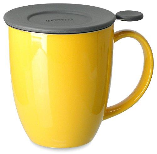 FORLIFE Uni Brew-in-Mug with Tea Infuser and Lid, 16-Ounce, - Mug Filtering Tea