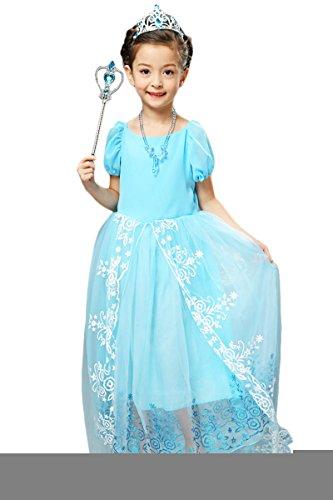 YMING Girls Elsa Floor Length Halloween Dress 7-8 Years