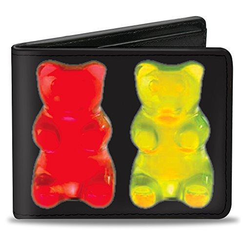 Buckle-Down PU Bifold Wallet - Gummy Bears Black/Multi - Inch Bear 3.5