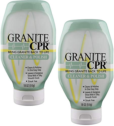 Granite CPR (Value 2-Pack of 18oz Bottles) - 2-in-1 Cleaner & Polish is Gentle Enough for Daily Use & Tough Enough to Restore Granite, Marble, & Stone to Its Original Luster (Best Cleaner For Granite Headstone)