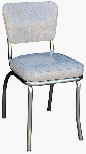 "Richardson Seating Cracked Ice Retro Chrome Kitchen Chair with 2"" Box Seat, Grey"