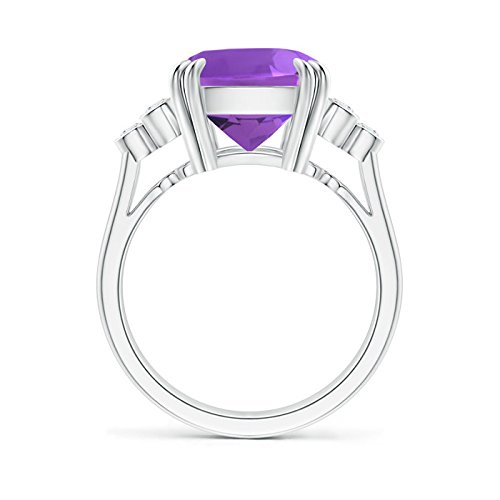 Angara Solitaire Double Claw Amethyst Trinity Ring with Diamond xoZCSRYV