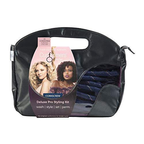 Curlformers Hair Curlers Deluxe Range Corkscrew Curls Styling Kit, 40 No Heat Hair Curlers and 2 Styling Hooks for medium length hair up to 14
