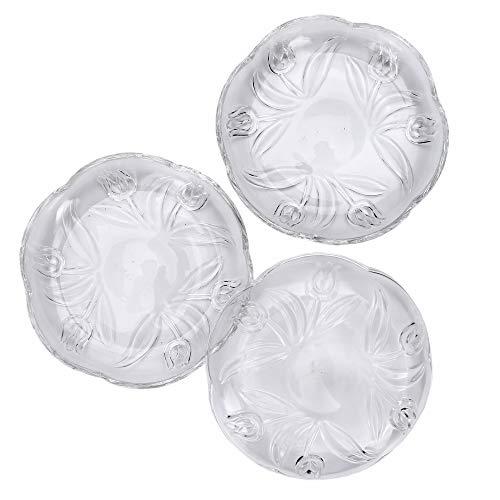 Somil Self Designer Transparent Round Glass Plate Set of Three