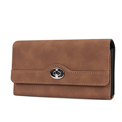 Mundi File Master Womens RFID Blocking Wallet Clutch Organizer With Change Pocket (One Size, Brown Sugar) by Mundi