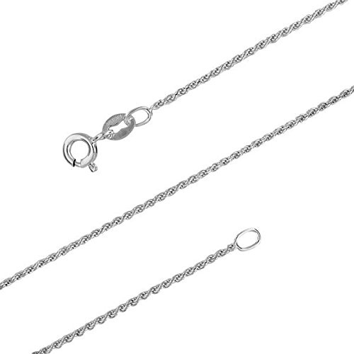 Sterling Silver 1.1mm Diamond-Cut Rope Chain Necklace Solid Italian Nickel-Free, 18 Inch Diamond Cut Rope Chain Necklace