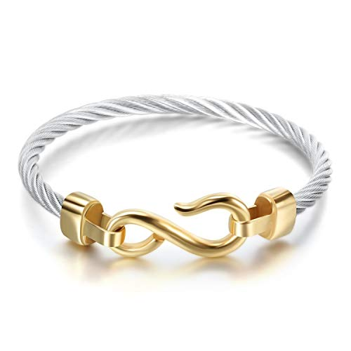 Designer Inspired Titanium Stainless Steel Vintage Signature Twisted Cable Bracelet Bangle (Gold Infinity Hook) -
