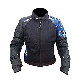 MOTOTECH Scrambler Air Women's Motorcycle Jacket (Black + Blue, Large)