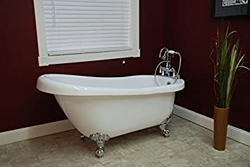 Charmant 61u0026quot; Claw Foot Acrylic Slipper Bathtub With 7u0026quot; Faucet Hole  Drillings ...
