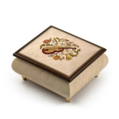 Sophisticated Cream Stain Music Box with Violin Wood Inlay - You Are the Sunshine of My (Violin Inlay Music Box)