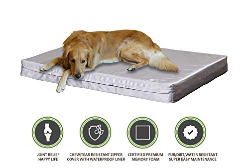 PetBed4Less Deluxe Orthopedic Memory Foam Dog Bed Pet Pad with Heavy Duty Removable Zipper Cover + Free Waterproof Liner [Replacement Zipper Covers Available]