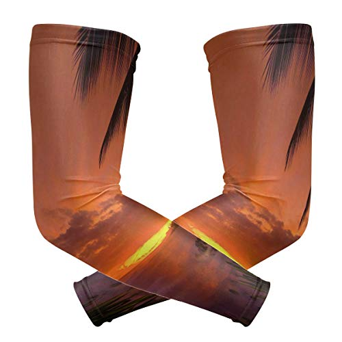 (Arm Sleeves Hawaii Sunset Mens Sun UV Protection Sleeves Arm Warmers Cool Long Set Covers)