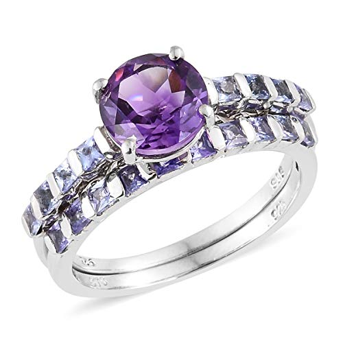 925 Sterling Silver Platinum Plated Round Amethyst Tanzanite Stackable Ring for Women