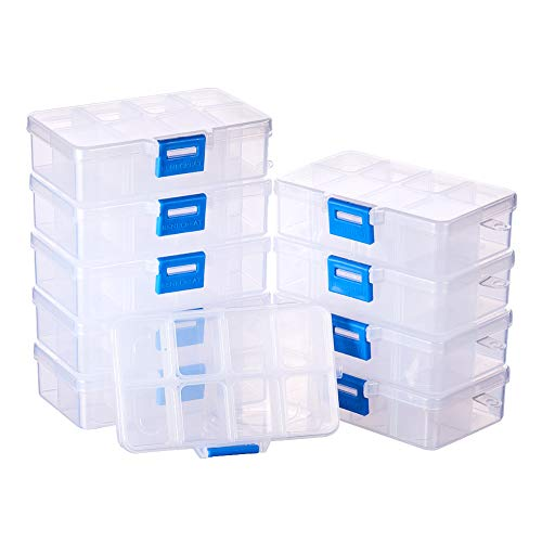 BENECREAT 10 Pack 8 Grids Jewelry Dividers Box Organizer Adjustable Clear Plastic Bead Case Storage Container 4.33 x 2.68 x 1.18 inch, Compartment: 1.18 x 0.98 x 1.02 inch