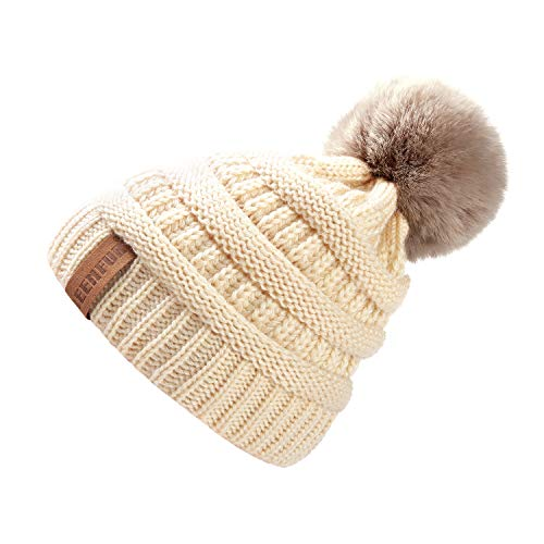 QUEENFUR Women Knit Slouchy Beanie Chunky Baggy Hat with Faux Fur Pompom Winter Soft Warm Ski Cap (Games Playground 100)