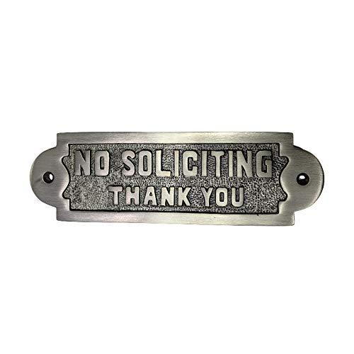 Adonai Hardware Rectangular No Soliciting Brass Door Sign - Antique Brushed Nickel